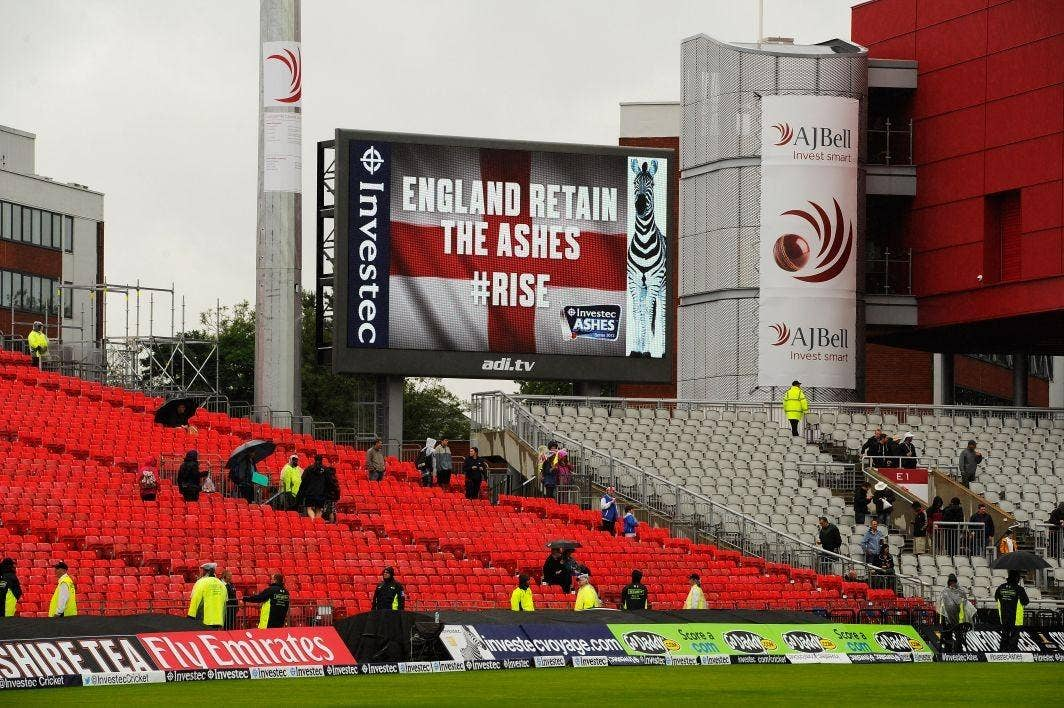 A general view of the big screen as England regain the Ashes after the match was drawn during day five of the 3rd Investec Ashes Test match between England and Australia