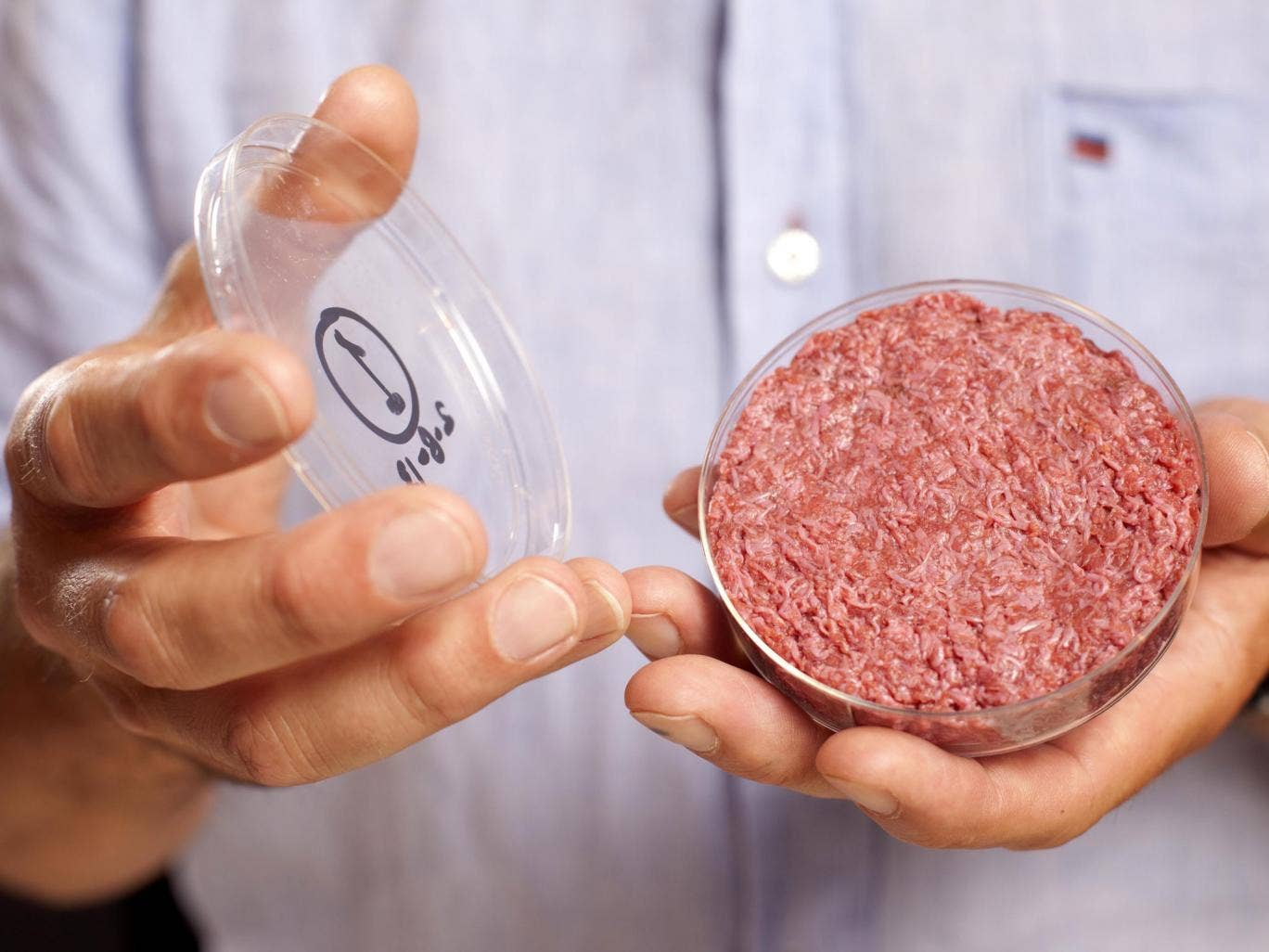 The lab-grown meat burger is made from Cultured Beef