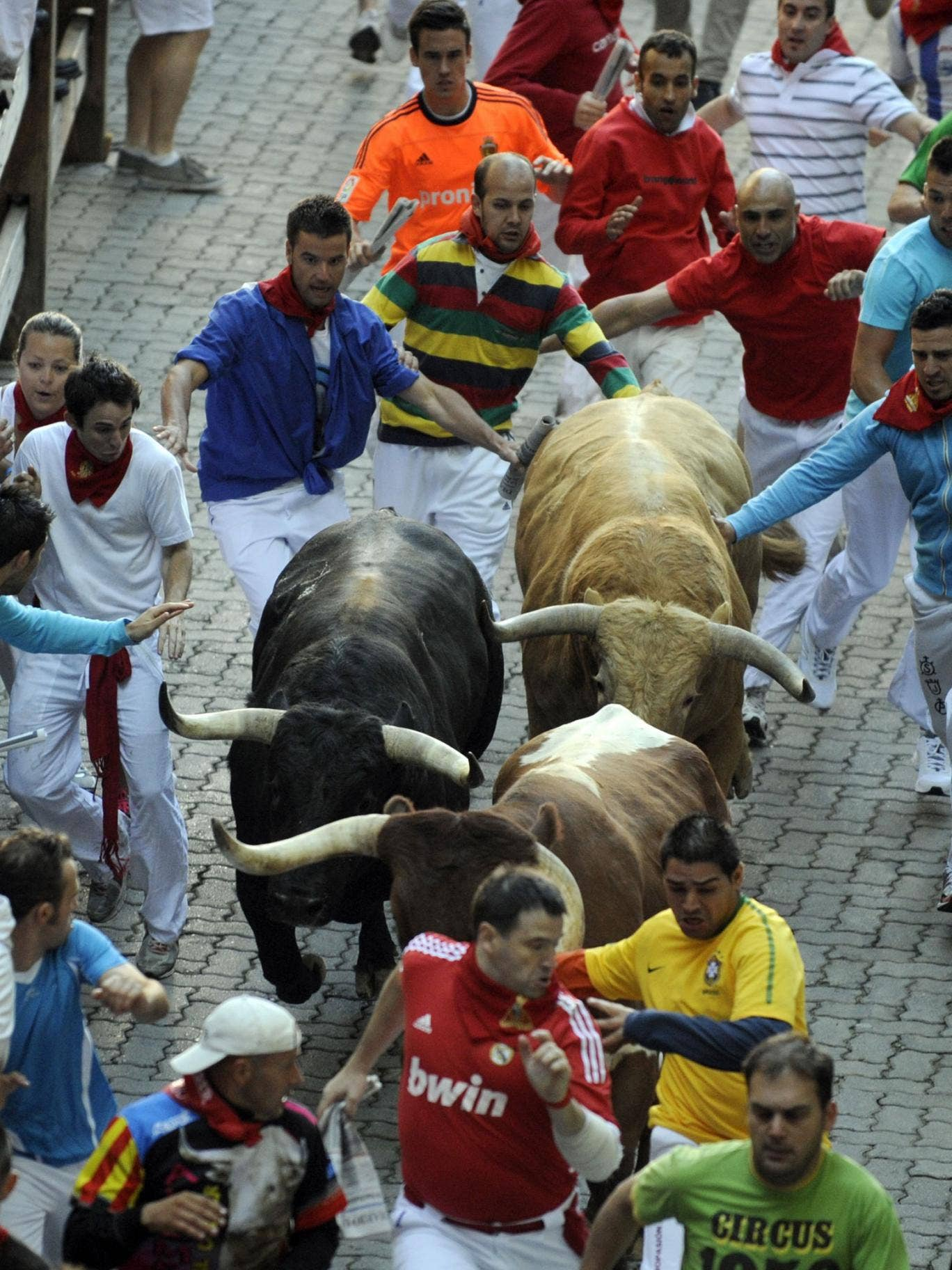 Participants run in front of bulls during the annual San Fermin festival, held every July in the northern Spanish city of Pamplona