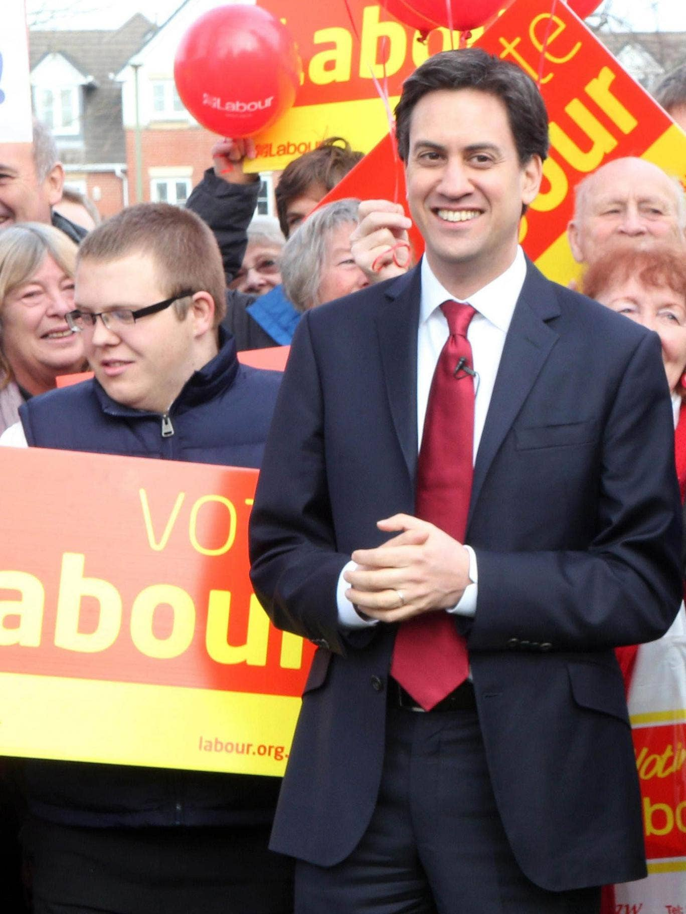 Critics say Mr Miliband, pictured during the disastrous Eastleigh campaign this year is 'hesitant and confused'