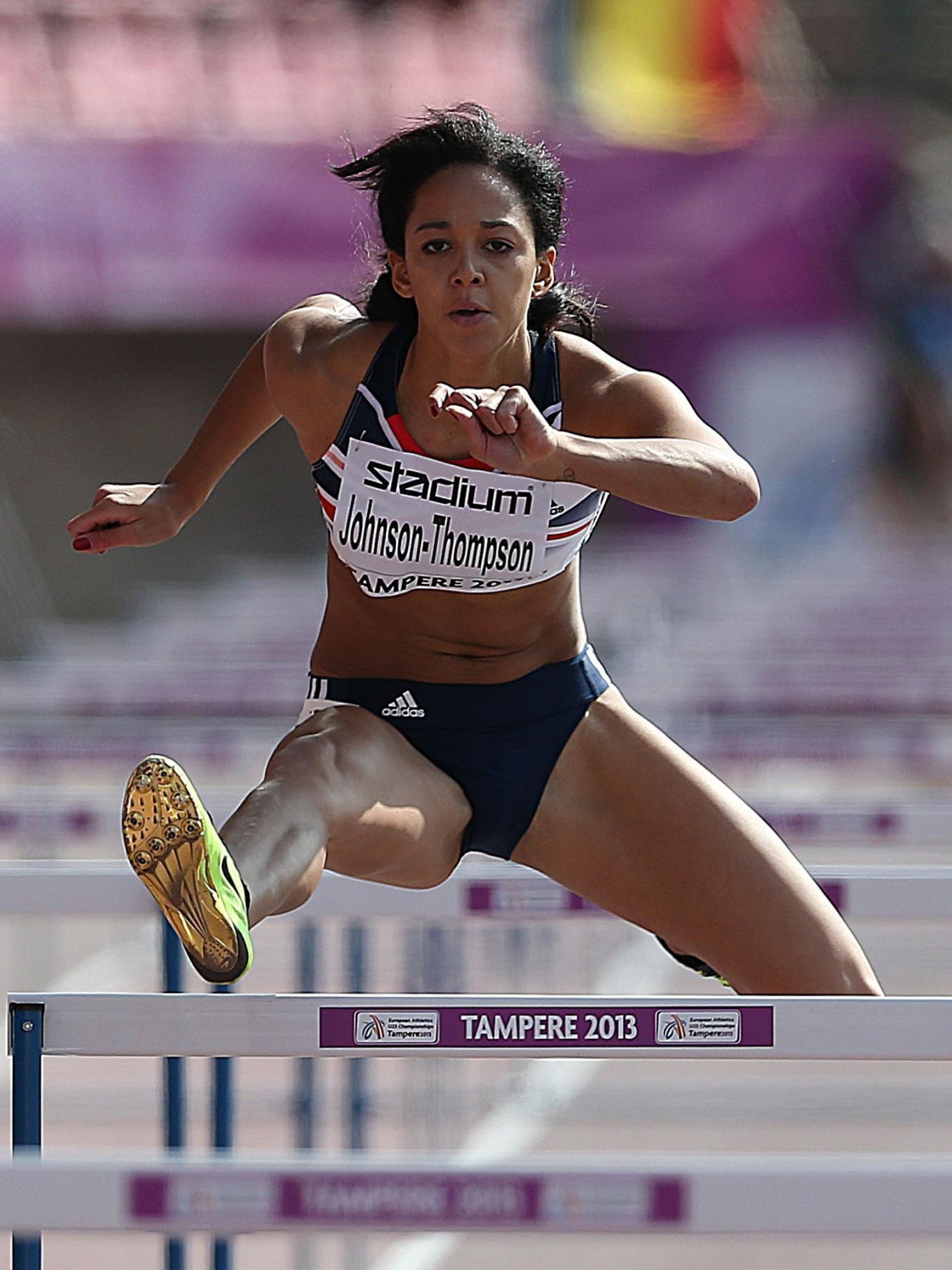 Katarina Johnson-Thompson on her way to victory in the European Under-23 Championship heptathlon in Finland last month