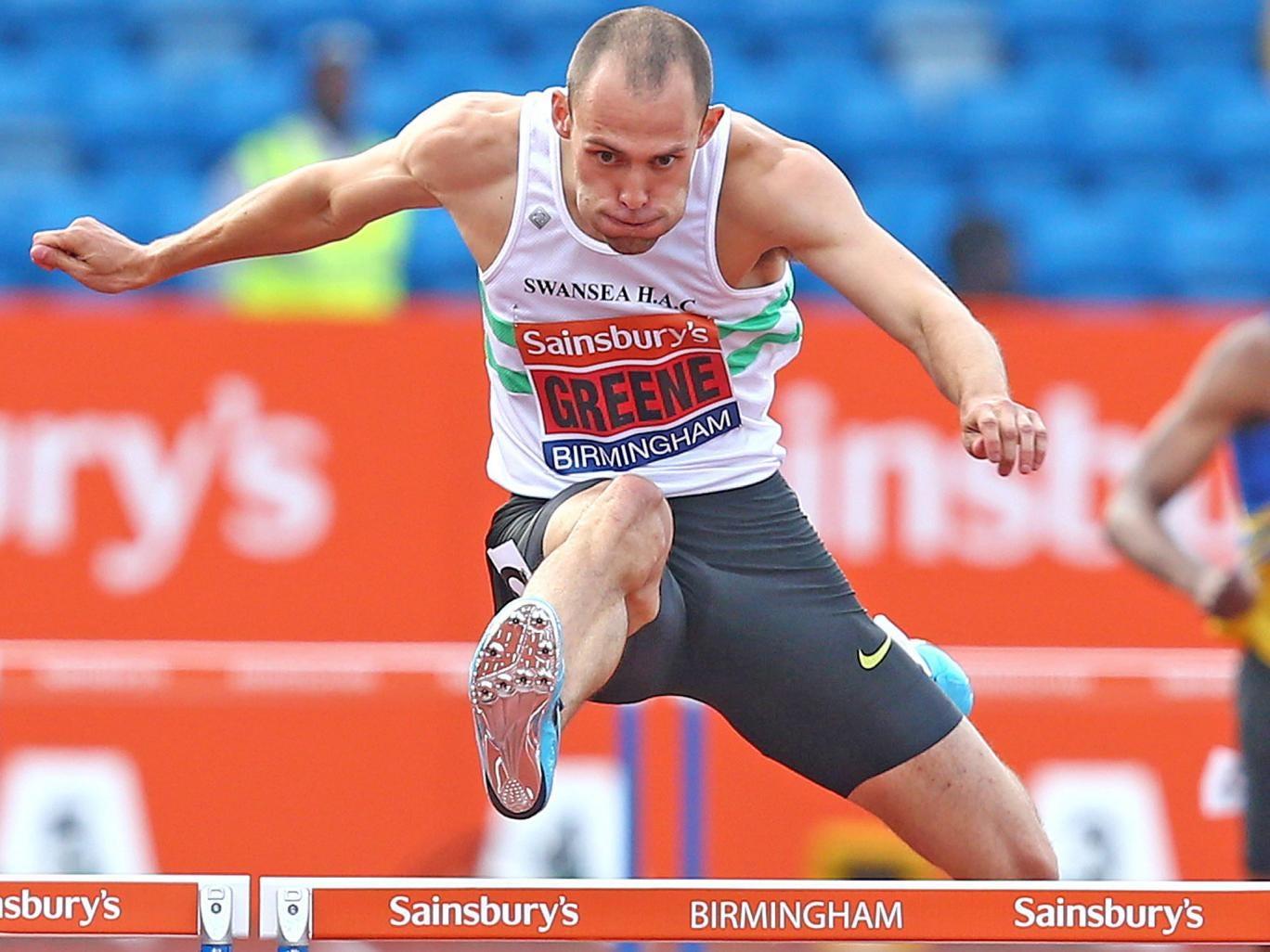 Dai Greene at the World Championships trials in Birmingham last month