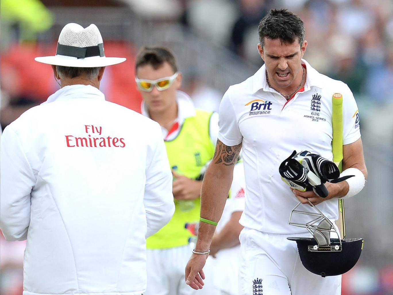 Kevin Pietersen shows his anger after the review decision at Old Trafford