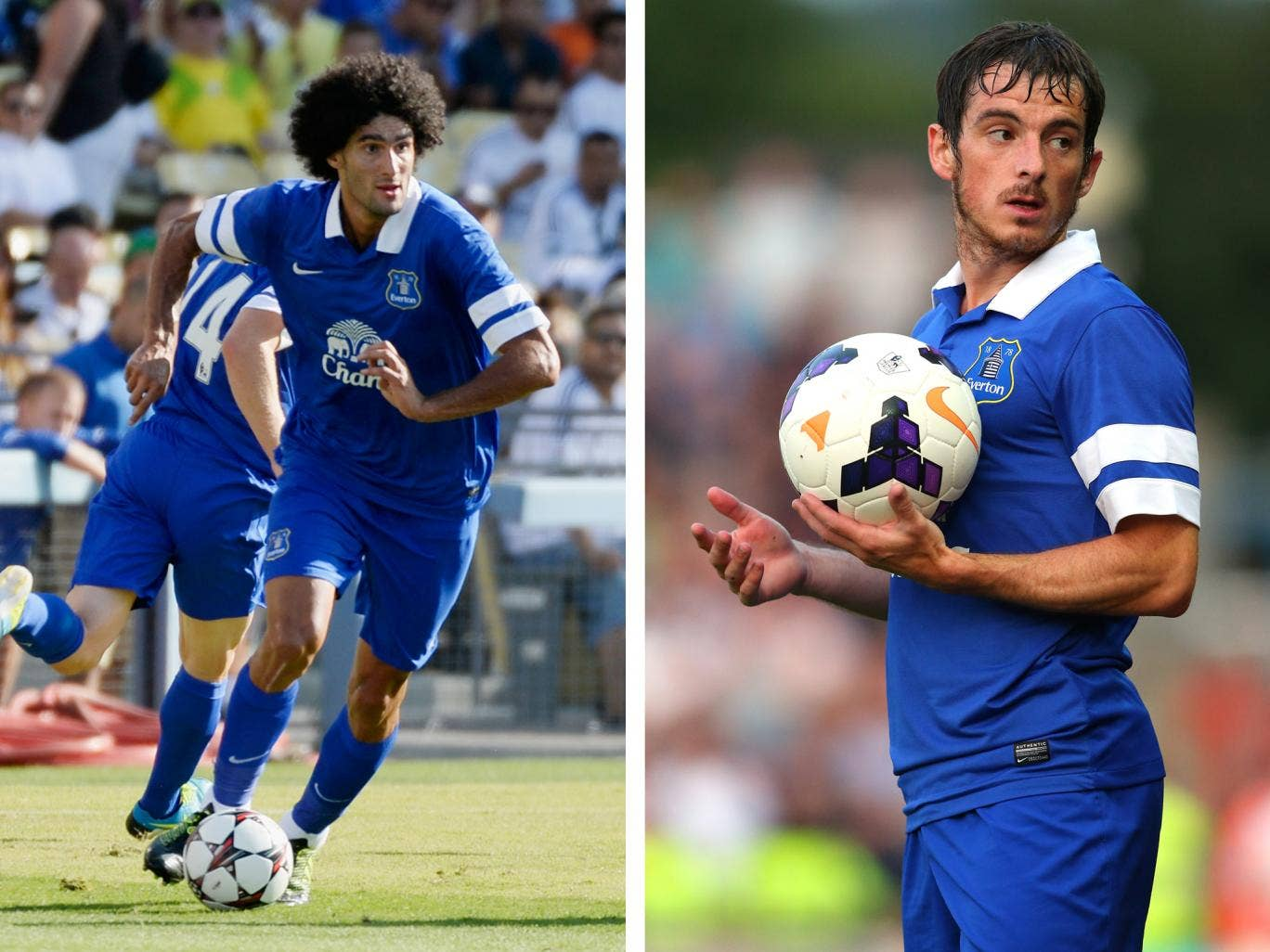 Marouane Fellaini and Leighton Baines in pre-season action for Everton