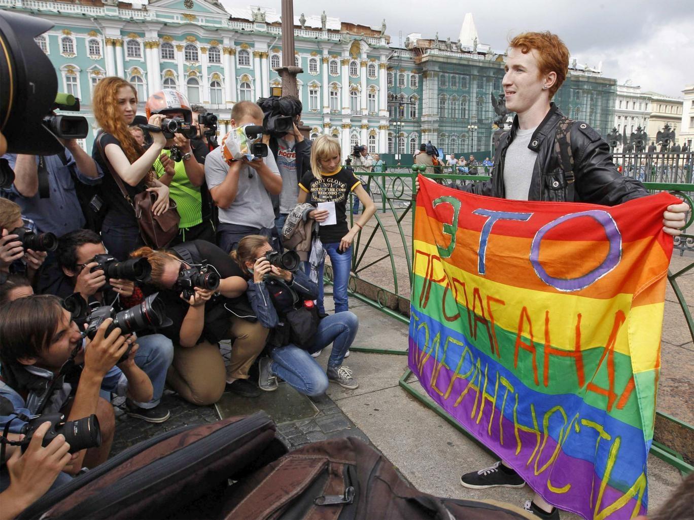 A gay rights activist in St. Petersburg last week