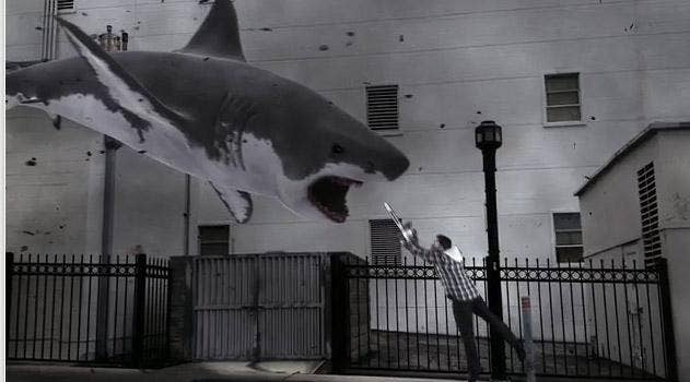 Sharknado: A freak hurricane (curse that global warming) hits Los Angeles, causing killer sharks to flood the streets of Hollywood
