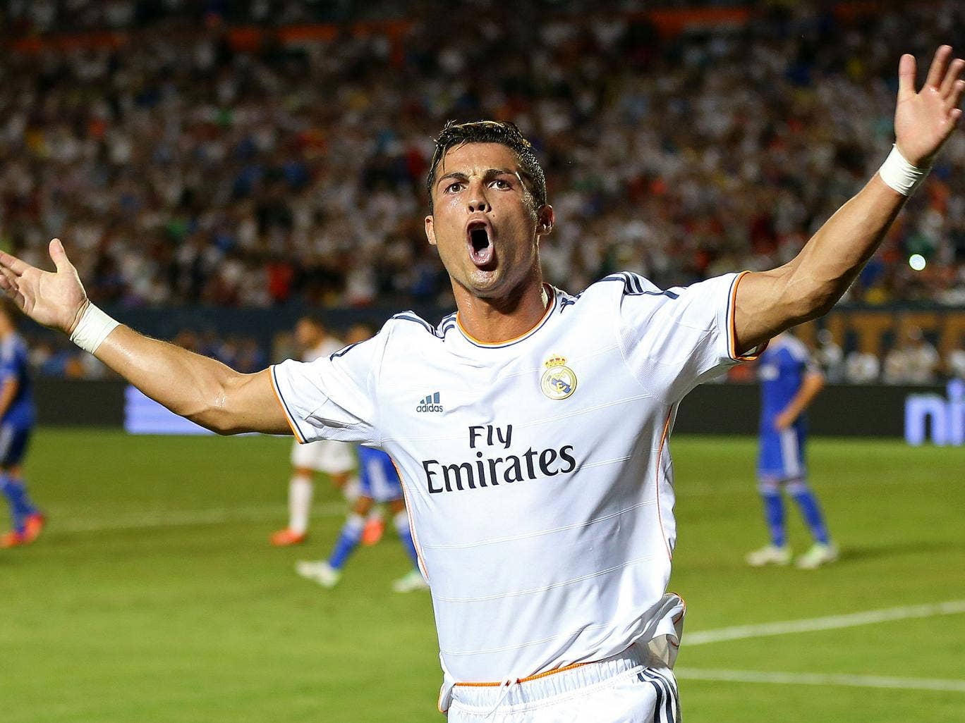 Cristiano Ronaldo celebrates scoring against Chelsea in the final of the International Champions Cup in Miami