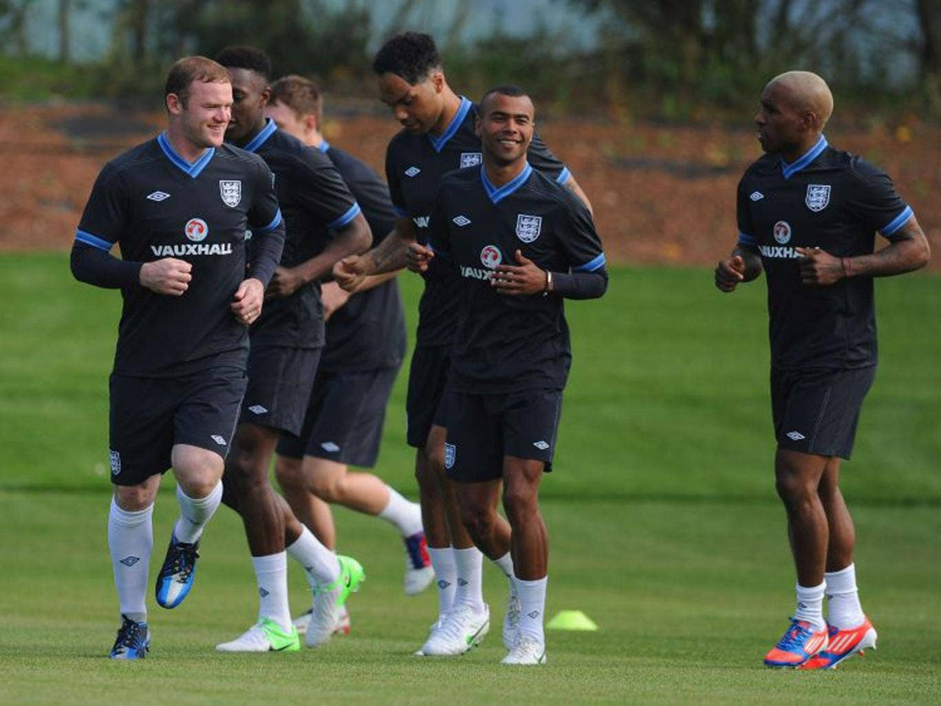 Wayne Rooney in England training with 'close friend' Chelsea left-back Ashley Cole