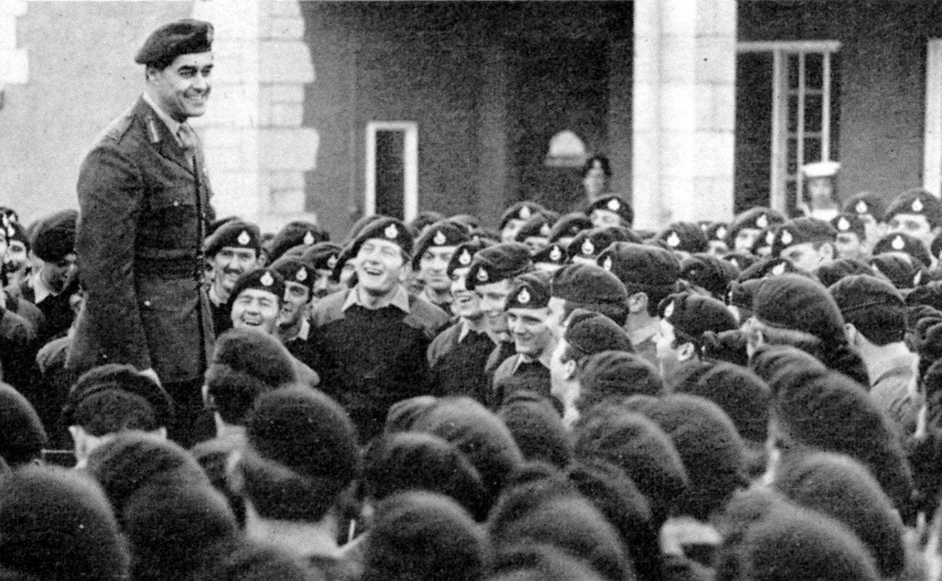 Gourlay jokes with his men in Portsmouth, during his post as Major General, Royal Marines from 1968-71