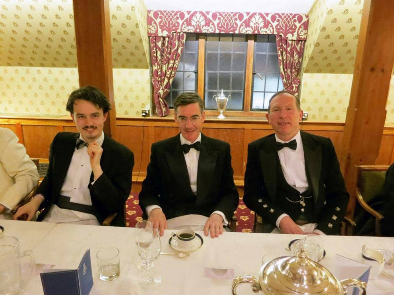 Left to right: Calum Rupert Heaton-Gent, Jacob Rees Mogg and Gregory Lauder- Frost, who says he wants black people deported