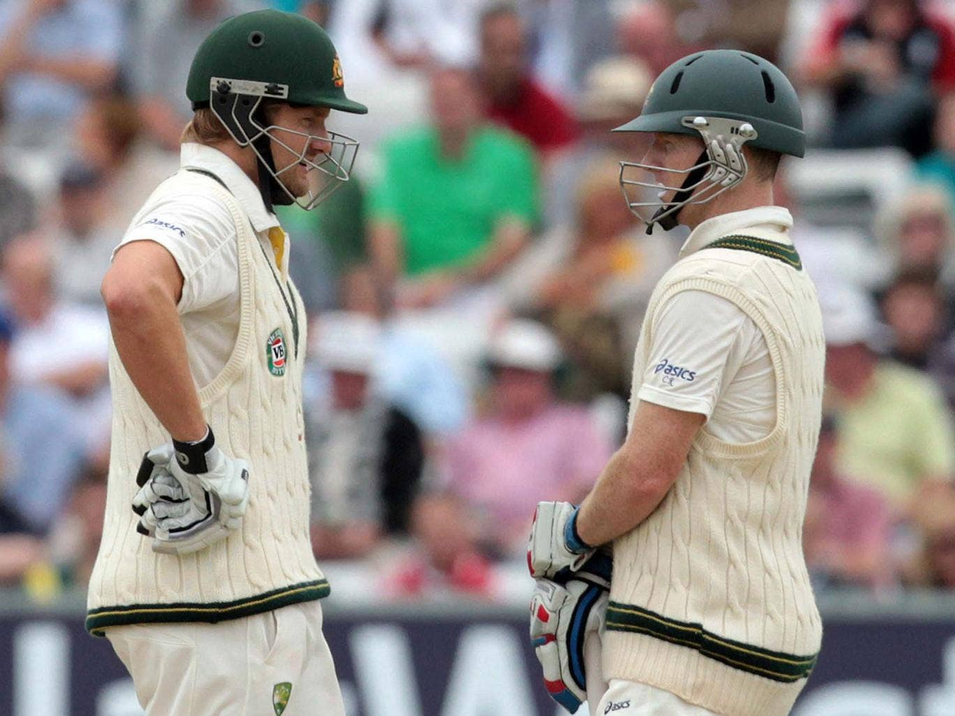 Long run: Shane Watson (left) and Chris Rogers put on 129 in 279 balls