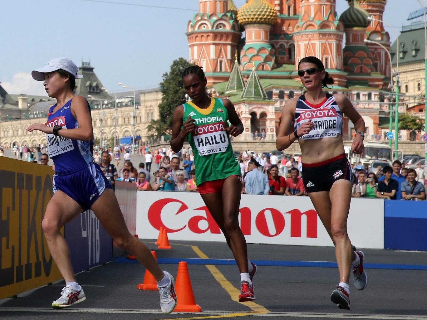 British presence: Susan Partridge (right) attacks in Red Square