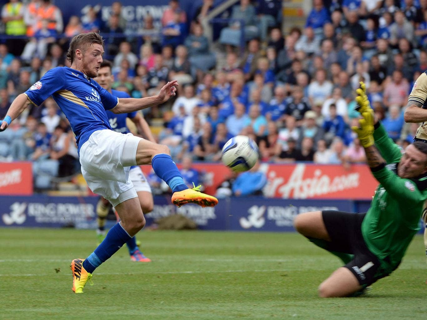 Leicester's Jamie Vardy with a shot against Leeds United