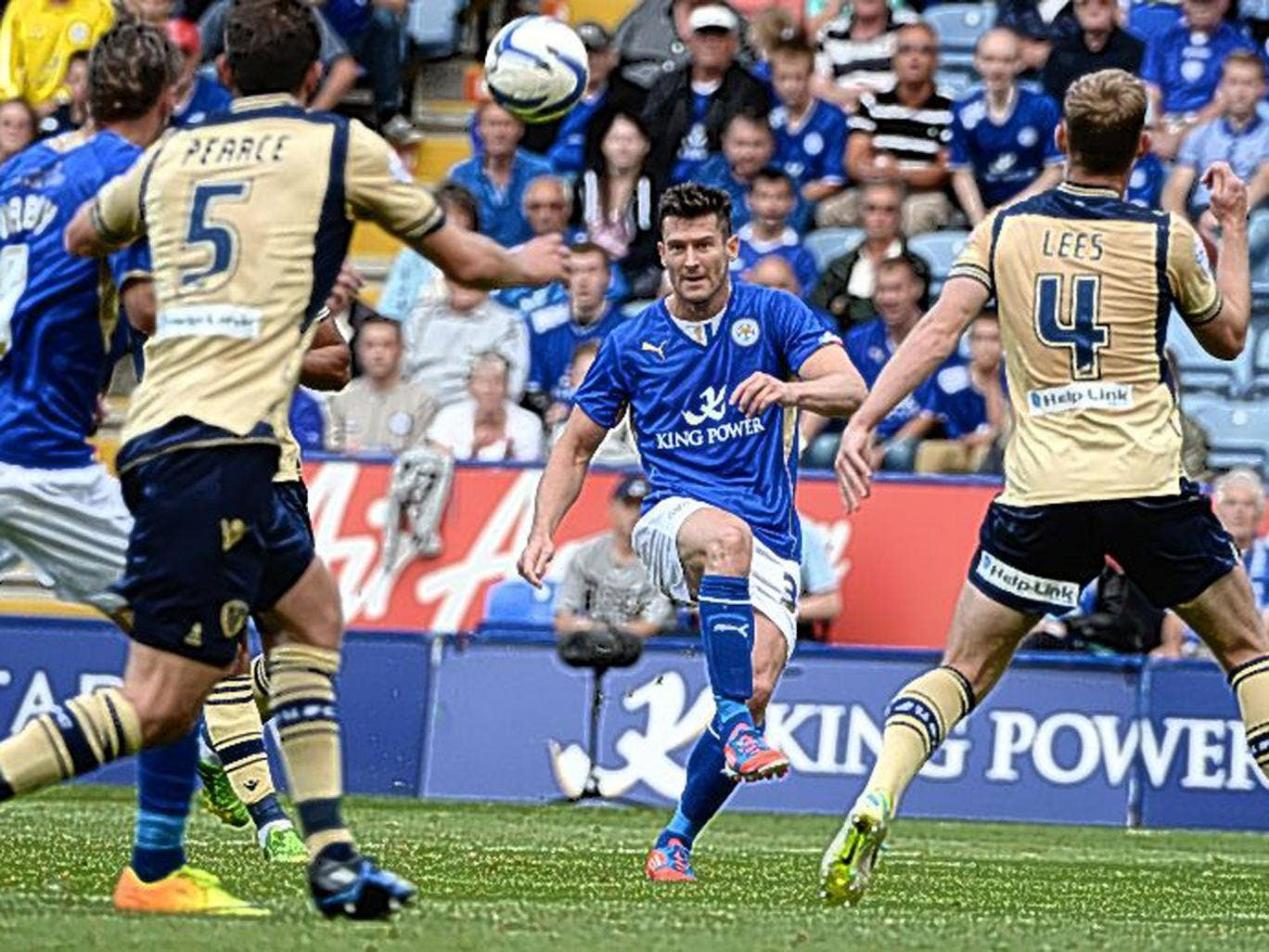 Leicester's David Nugent shoots during the 0-0 draw with Leeds