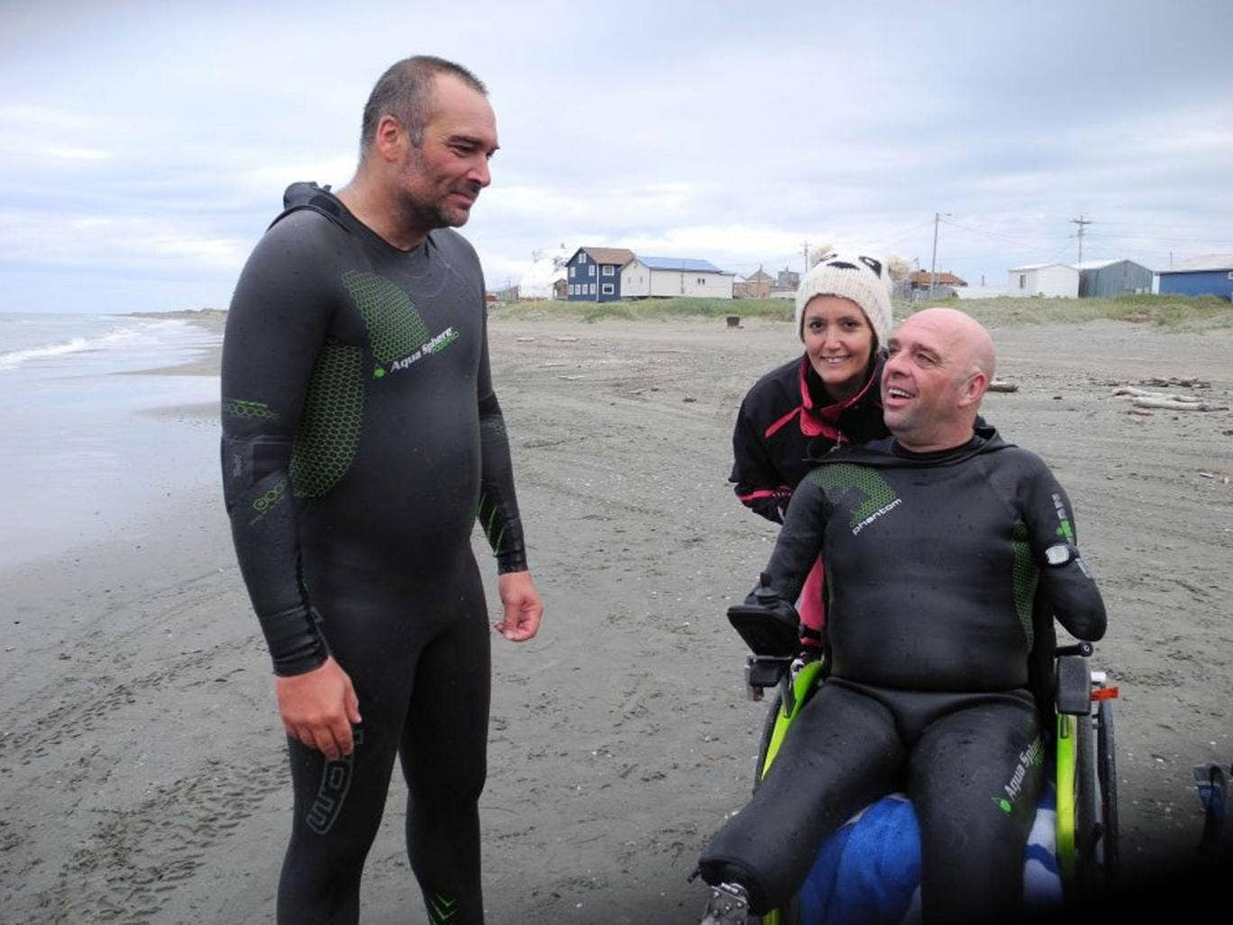 Quadruple amputee Philippe Croizon, right, speaking to his friend Arnaud Chassery, with whom he crossed the Bering Strait between North America and Russia
