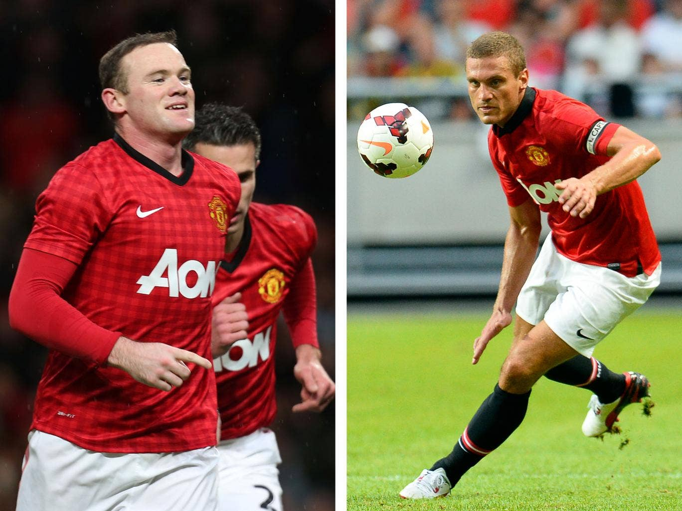 Wayne Rooney and Nemanja Vidic