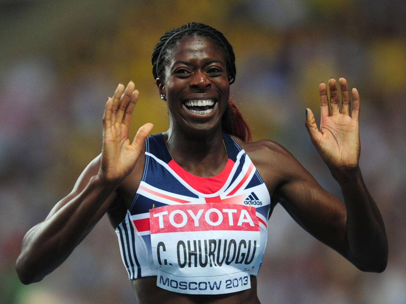 Christine Ohuruogu  reacts after her 400m victory is confirmed after the narrowest of margins