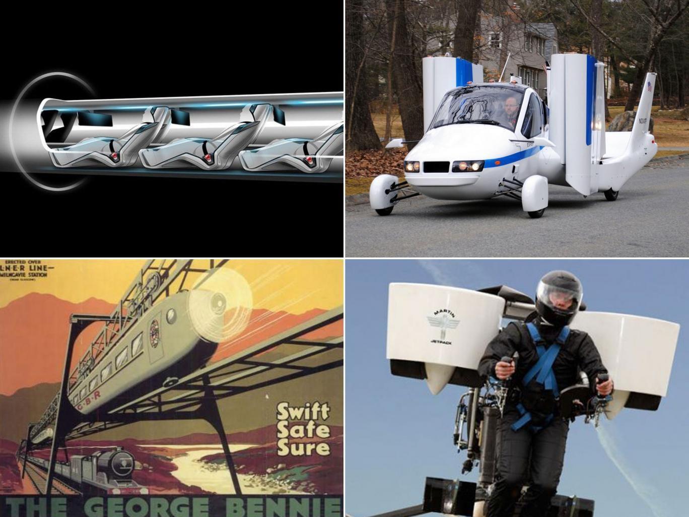 Flights of fancy (clockwise): Hyperloop, Transition, the jetpack and the Bennie Railplane