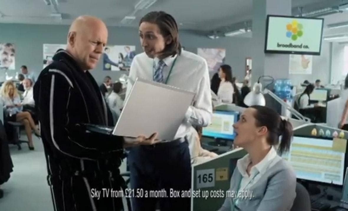 Bruce Willis in a Sky Broadband advert that has been banned by the ASA