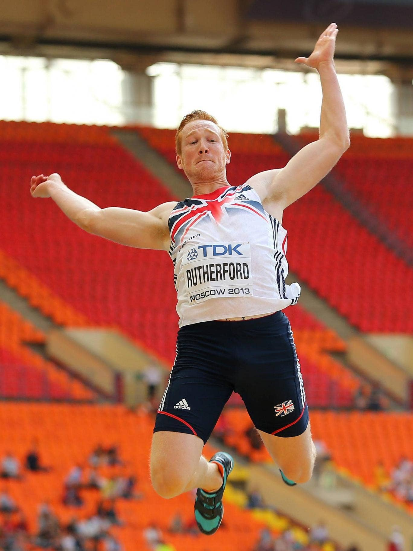Greg Rutherford in action in Moscow