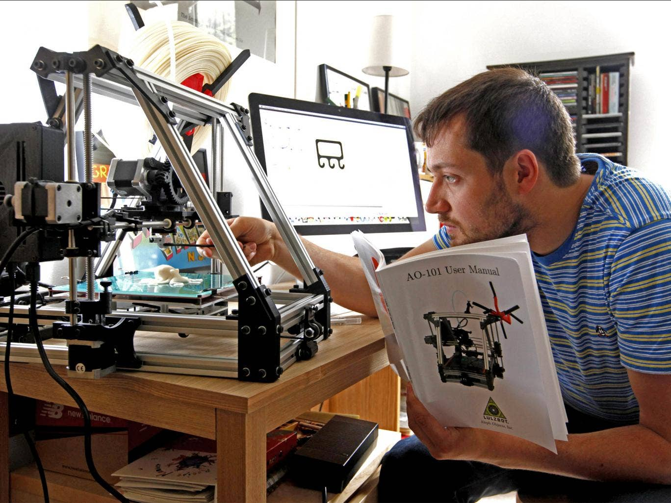 Home-baked idea: Will Dean struggles to get to grips with the Lulzbot 3D printer