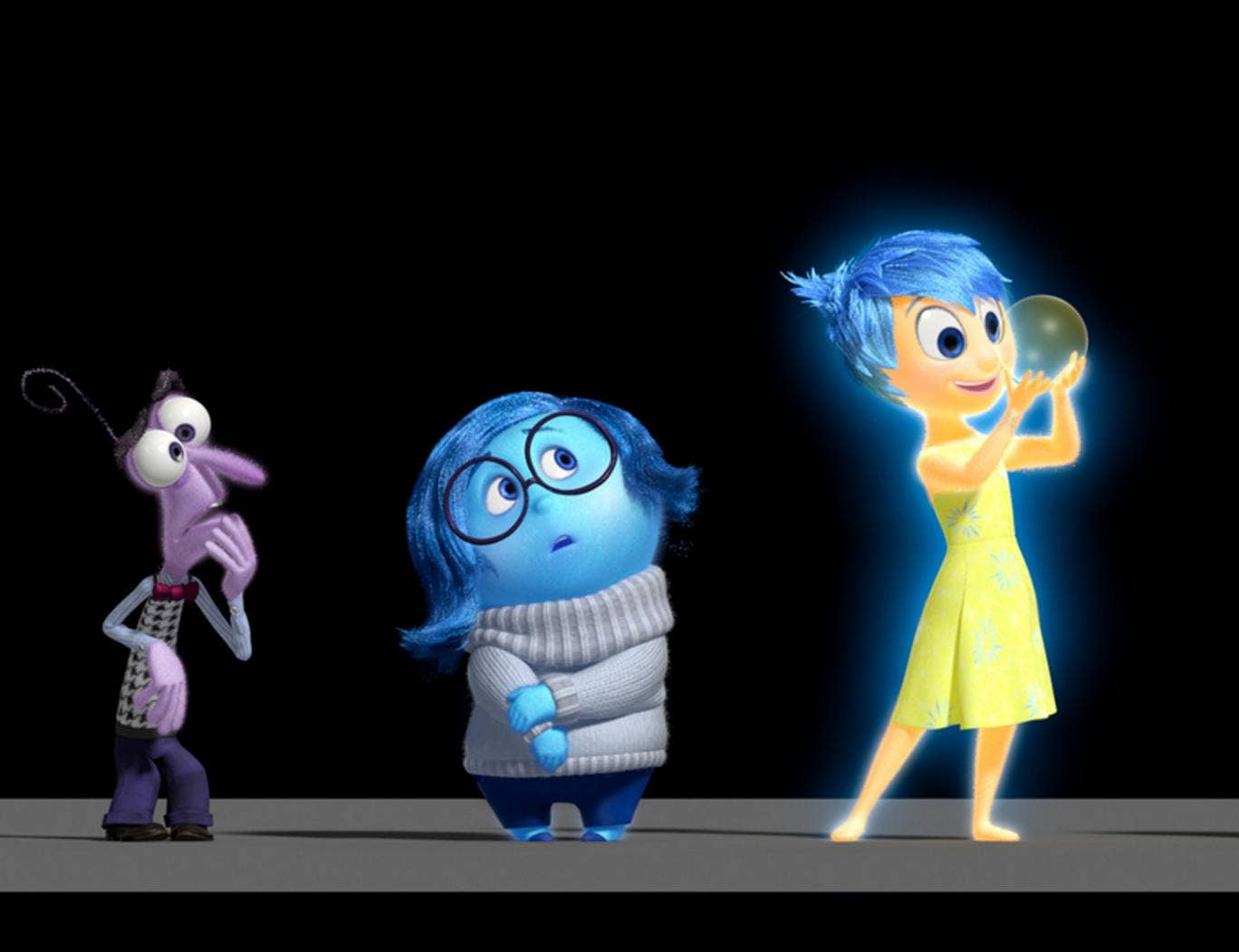 Inside Out characters Fear, Sadness and Joy