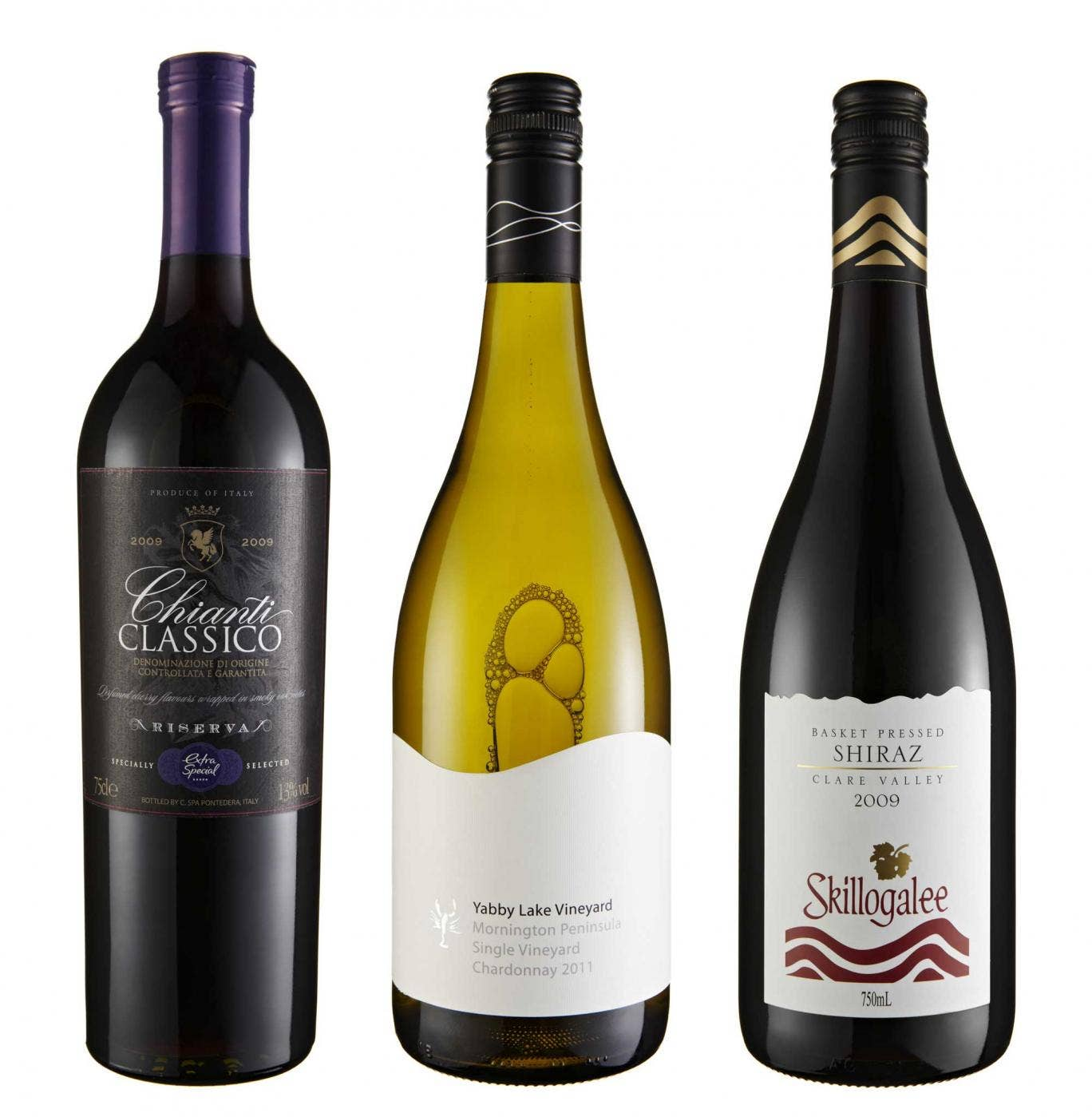 2009 Asda Extra Special Chianti Classico Riserva; 2011 Yabby Lake Single Vineyard Chardonnay; 2009 Skilogalee Basket Pressed Shiraz, Clare Valley