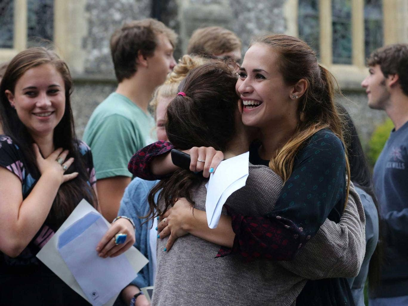 Hannah Short celebrates grades of A*, A and B at Brighton College in East Sussex