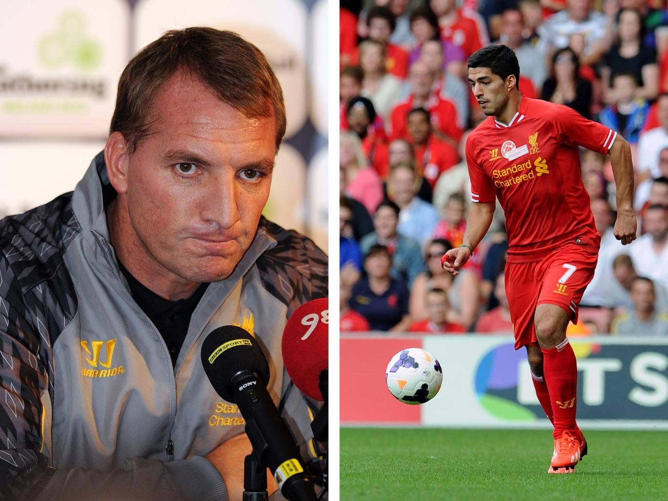 Brendan Rodgers doesn't want to talk about Luis Suarez again until the striker is available for selection