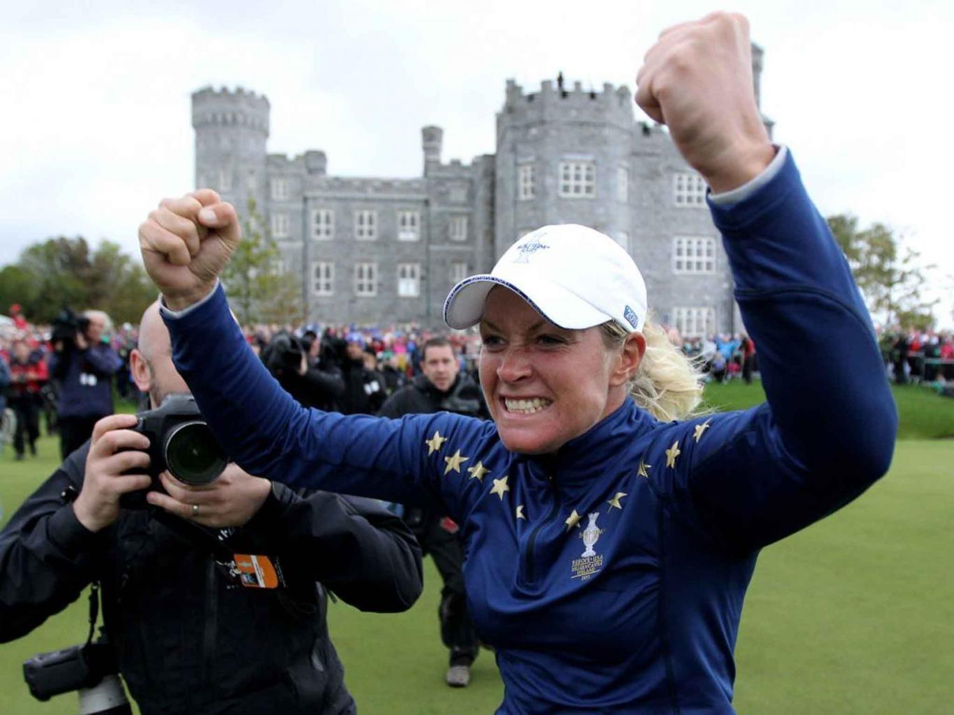 Suzann Pettersen celebrates Europe's victory at Killeen Castle