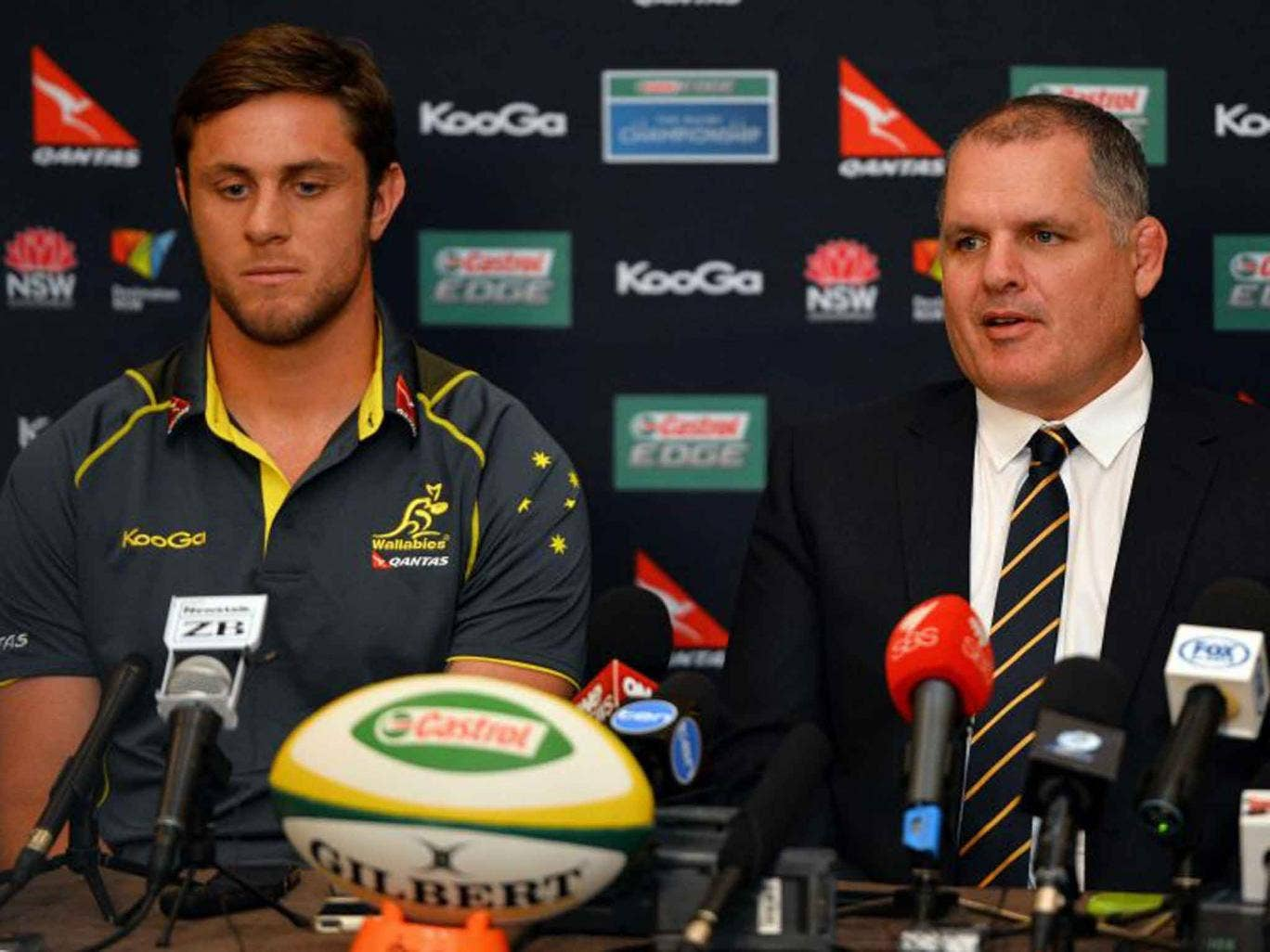 Australian coach Ewen McKenzie, right, alongside Hugh McMeniman during yesterday's press conference in Sydney