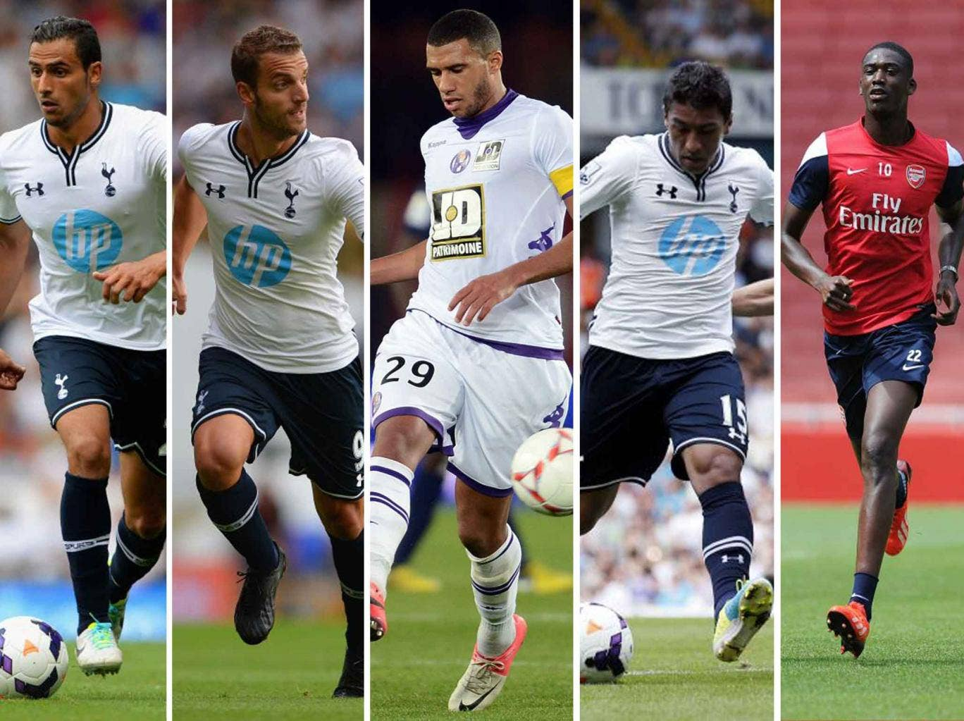Spurs signings from left, Nacer Chadli, Roberto Soldado, Etienne Capoue, Paulinho. Arsenal's sole signing this summer has been Yaya Sanogo, far right