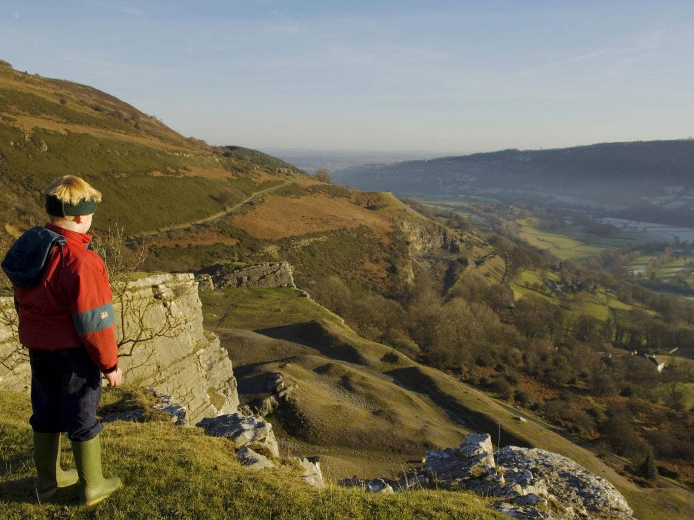A boy overlooks the Vale of Llangollen near to where the section of Offa's Dyke has allegedly been flattened