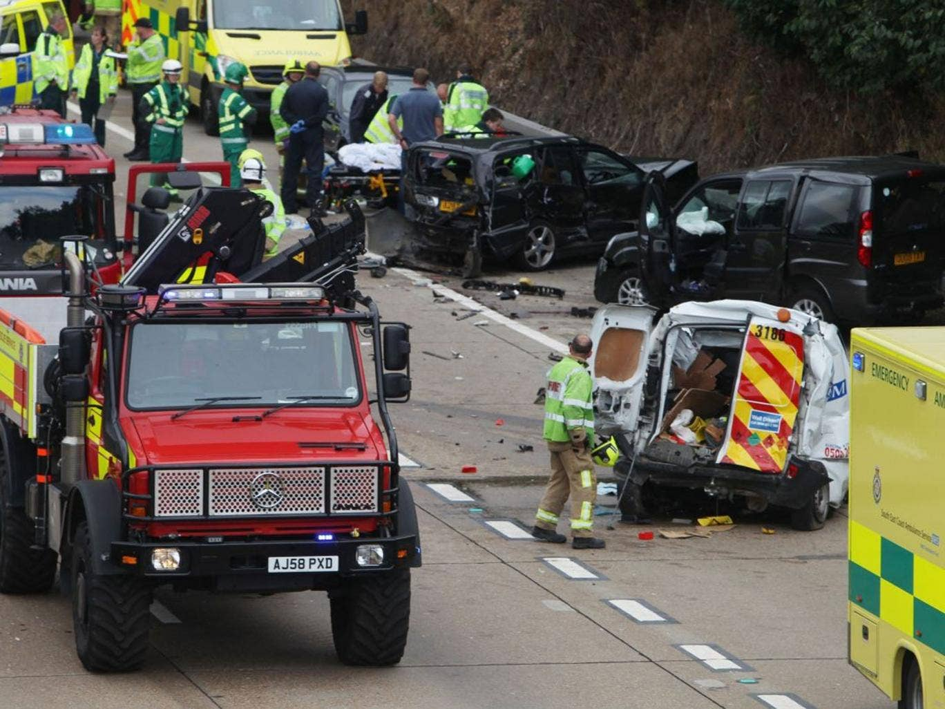 Scene of a road traffic collision on the clockwise section of the M25 Surrey