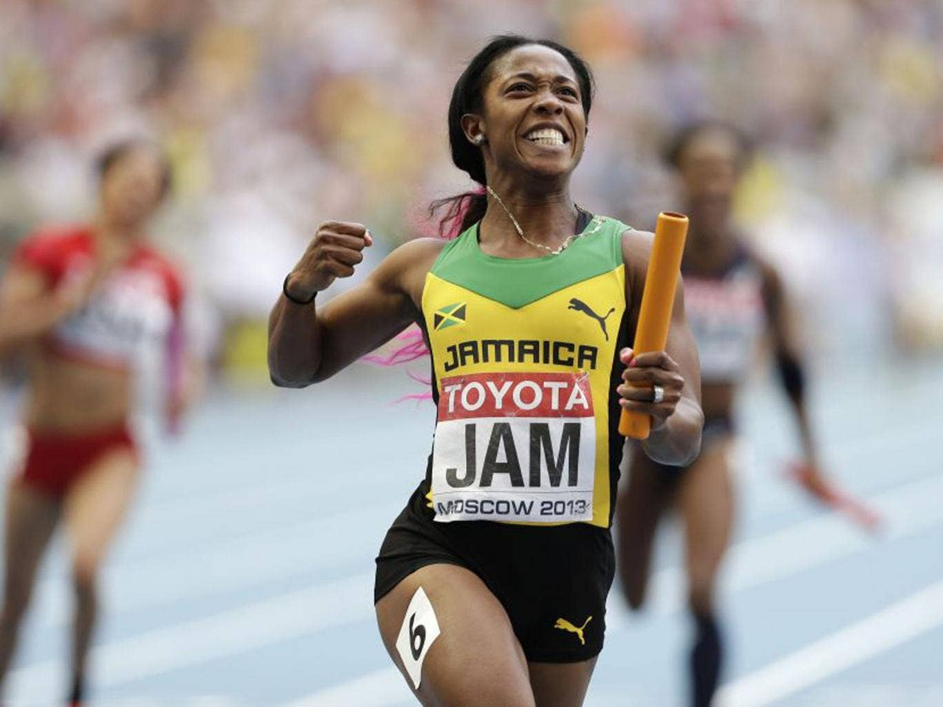 Shelly-Ann Fraser-Pryce anchored Jamaica's 4x100m women's team to victory - winning her third gold of the Championships and fifth world title (Anja Niedringhaus/AP)
