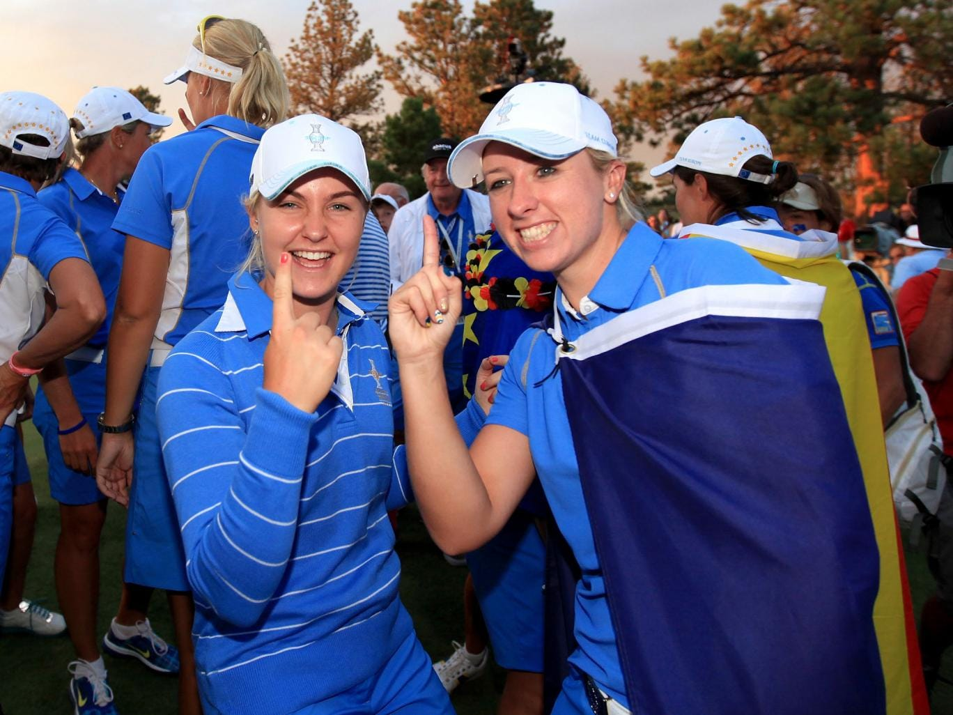 Charley Hull (left) and Jodi Ewart- Shadoff of England and The European Team celebrate