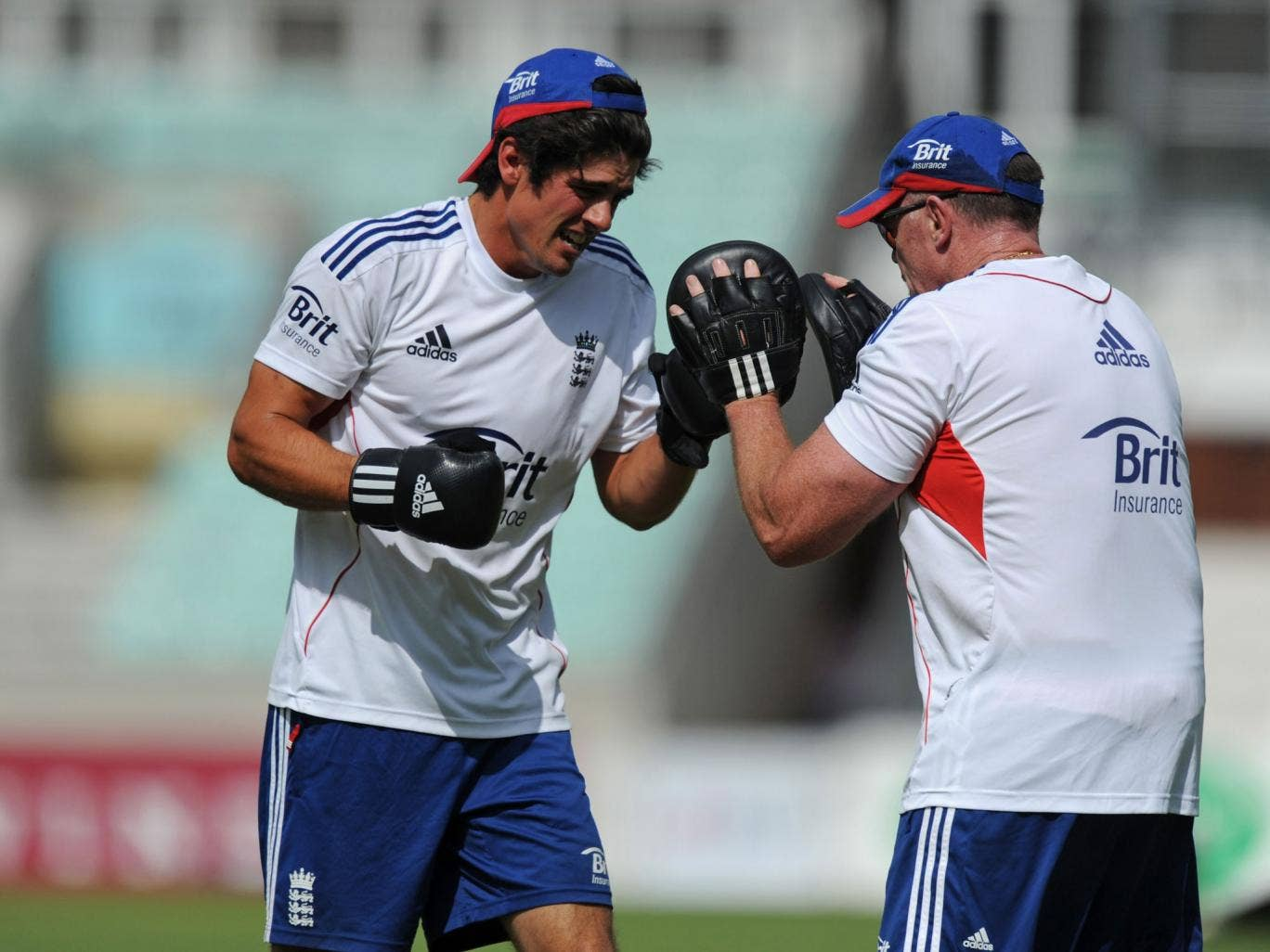 England's captain, Alastair Cook, gets his boxing gloves on at The Oval yesterday ahead of tomorrow's fifth and final Test