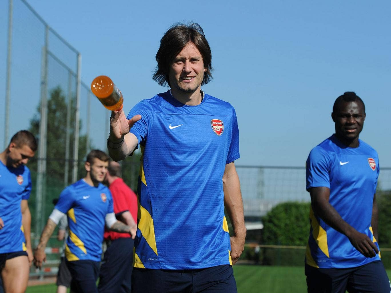 Tomas Rosicky trains with Arsenal