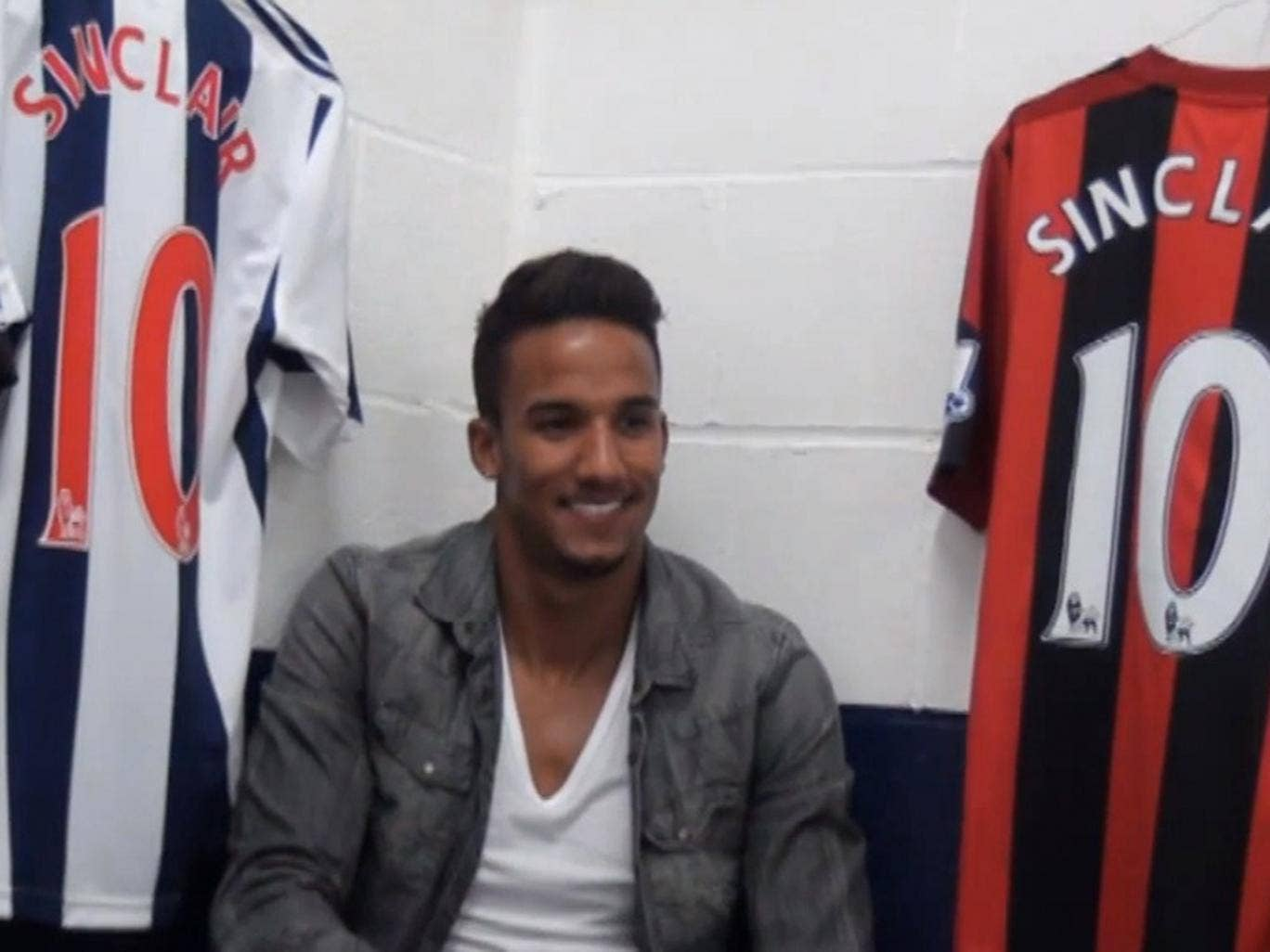 Scott Sinclair pictured with his new shirt