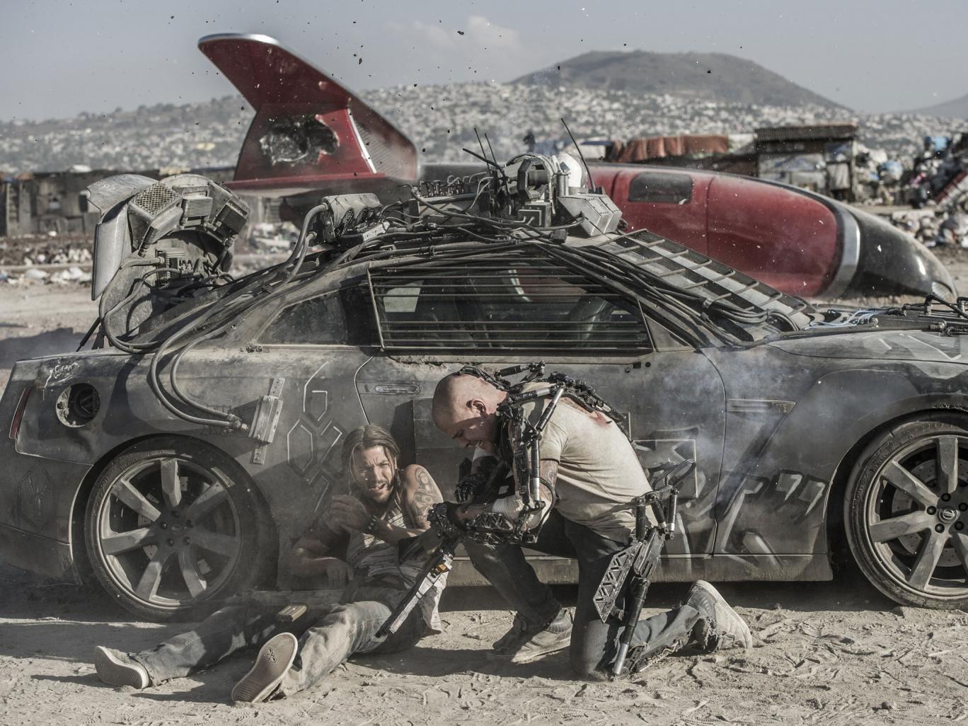Geared up: Diego Luna and Matt Damon in 'Elysium'