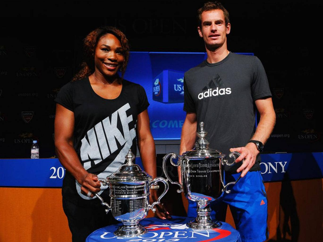 Defending champions Serena Williams and Andy Murray pose ahead of next week's US Open
