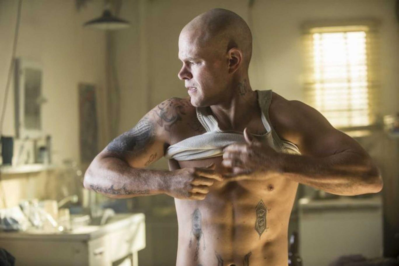 The newly shorn identity: Matt Damon is an ex-con in Neill Blomkamp's science-fiction thriller 'Elysium'