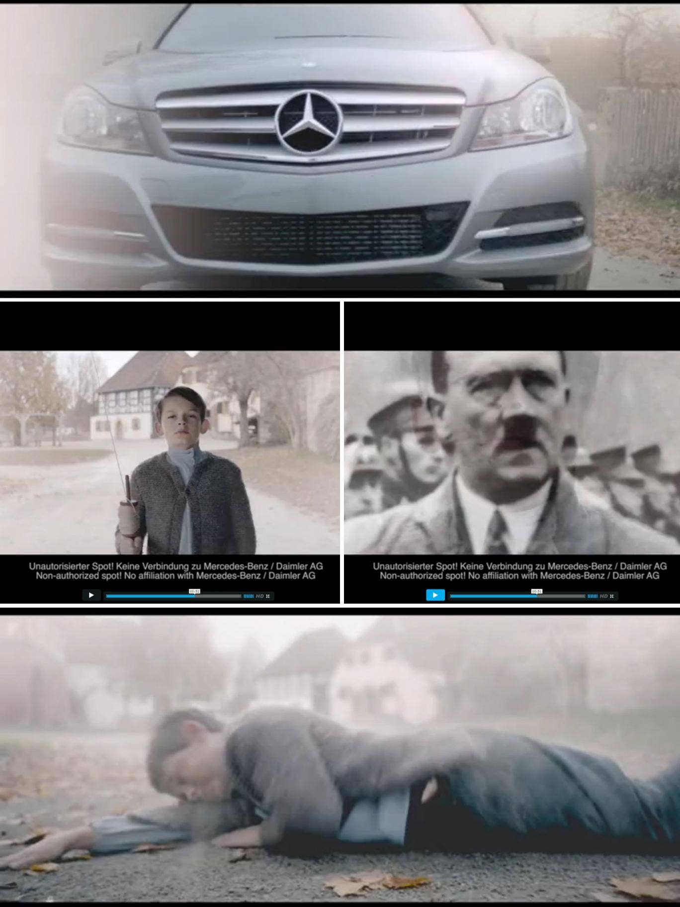 The spoof advert features a Mercedes C-class car driving through an Austrian village in 1890 and hitting a boy who is seemingly a young Hitler