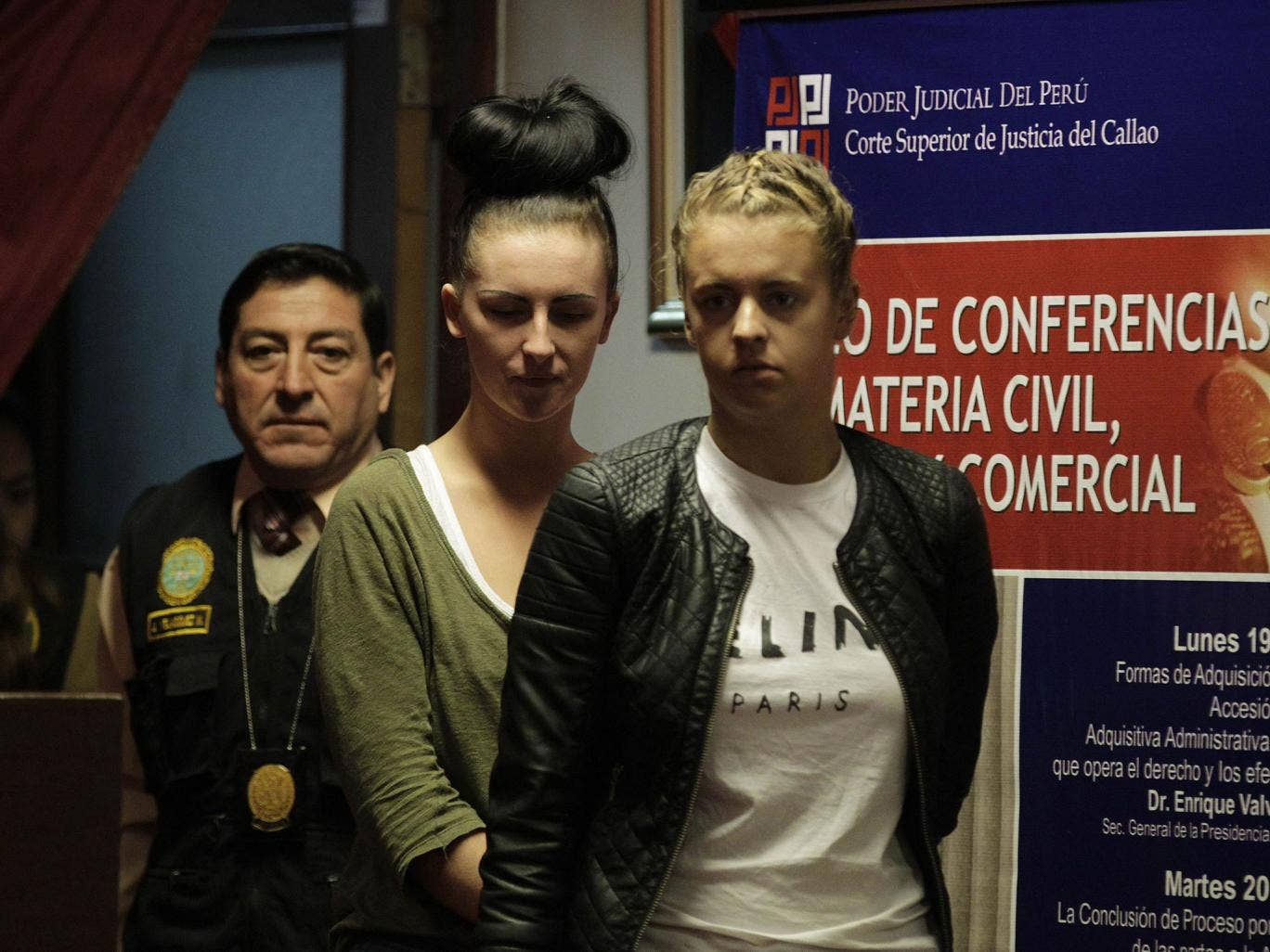Michaella McCollum Connolly, second right, and Melissa Reid, far right, after their arrest for drugs smuggling in Peru