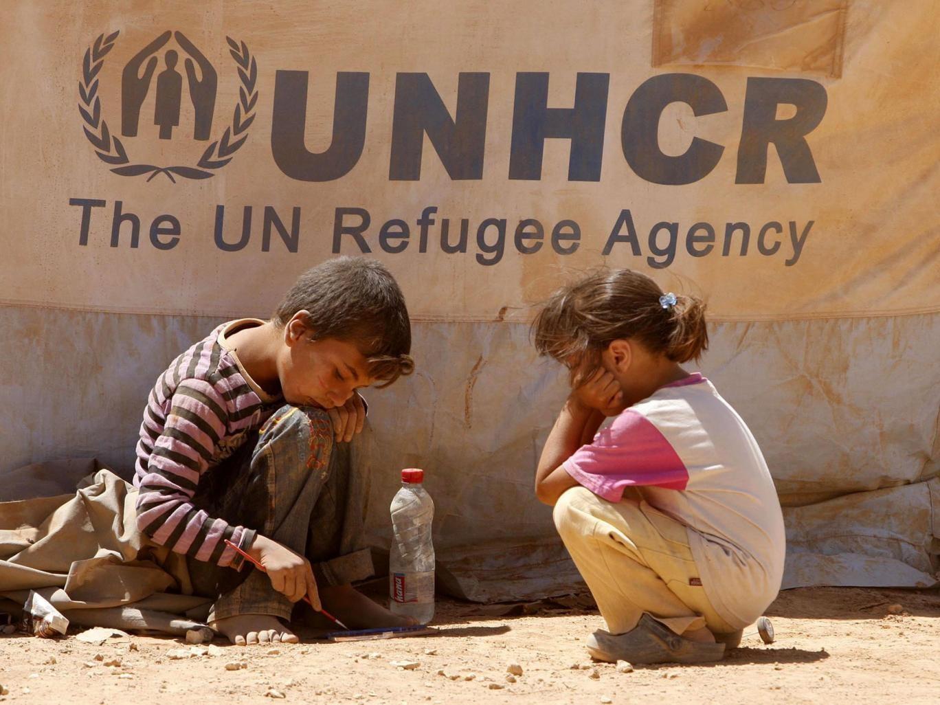 Syrian children at a refugee camp in Mafraq, Jordan