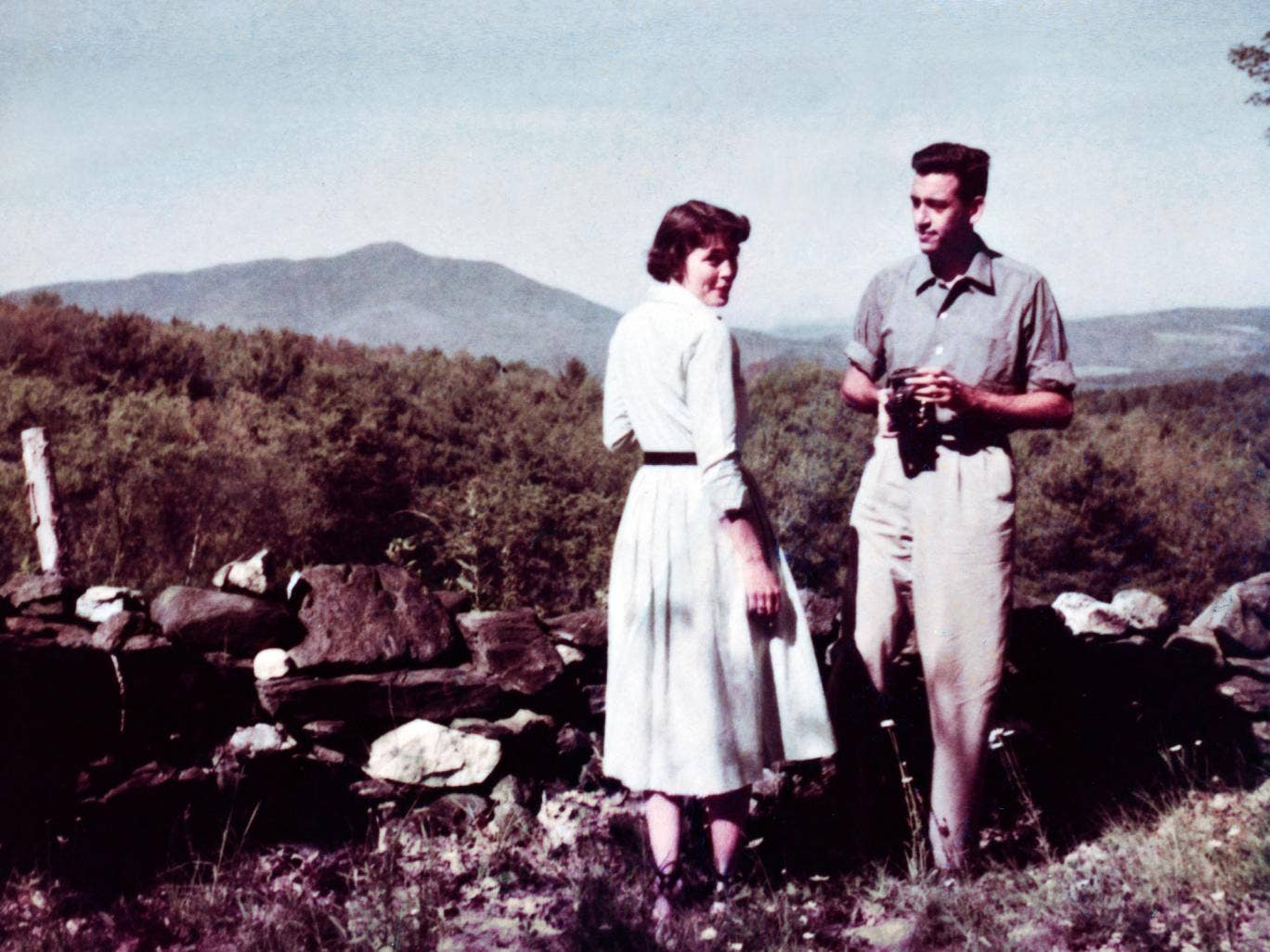 A rare photograph of author JD Salinger, right, with a friend