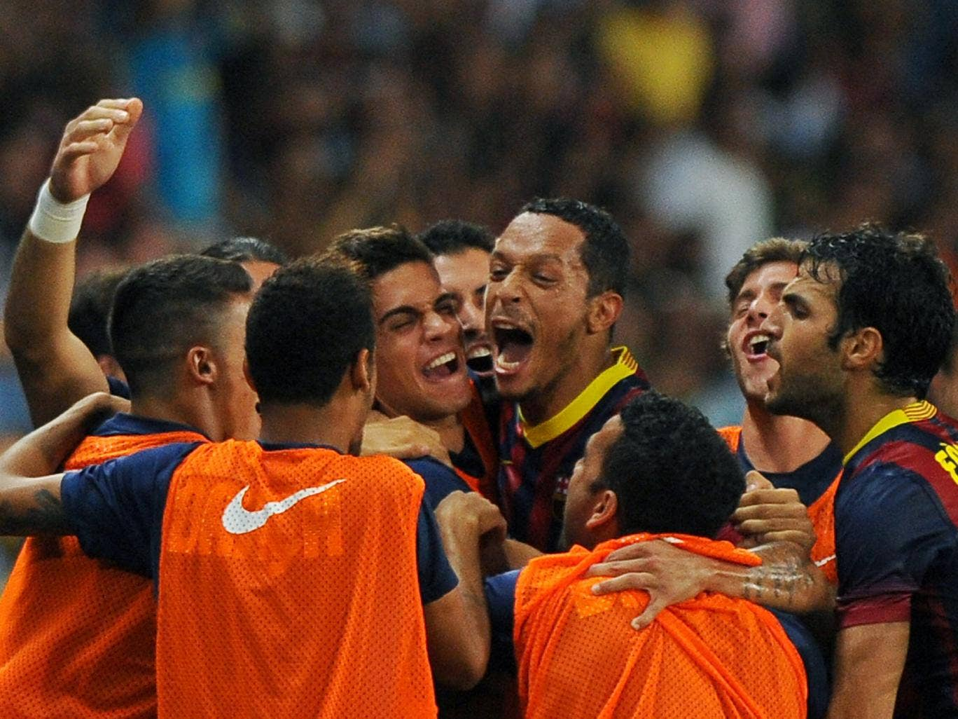 Barcelona celebrate Adriano's goal