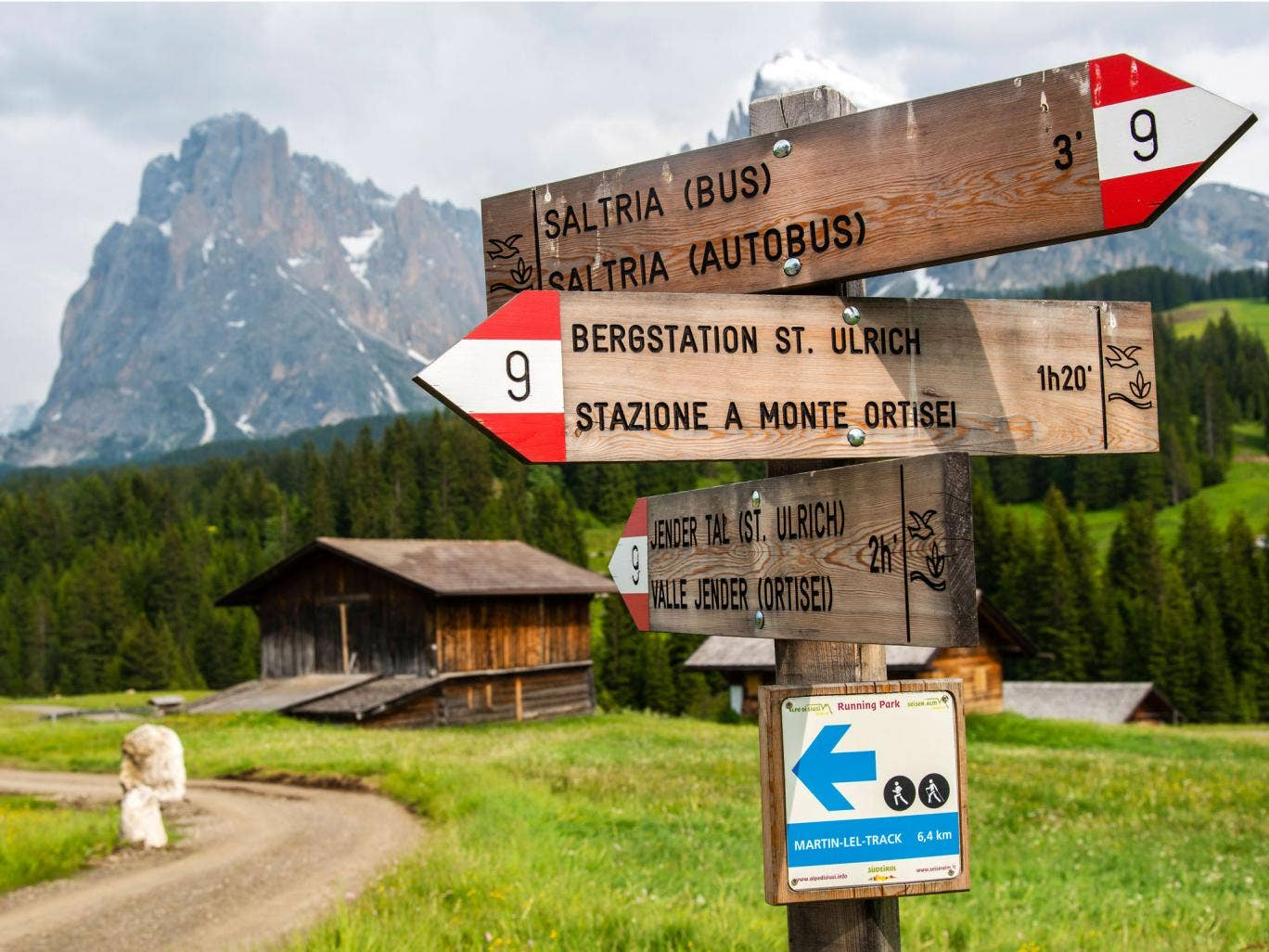 South Tyrol's governor wants to get rid of bilingual signs like these on a hiking trail in the Dolomites