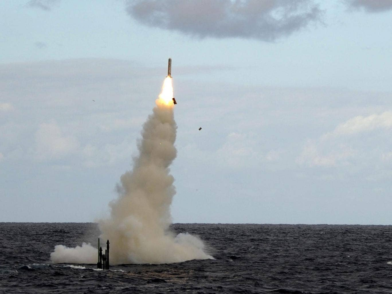 A Royal Navy submarine test fires a Tomahawk missile in 2011