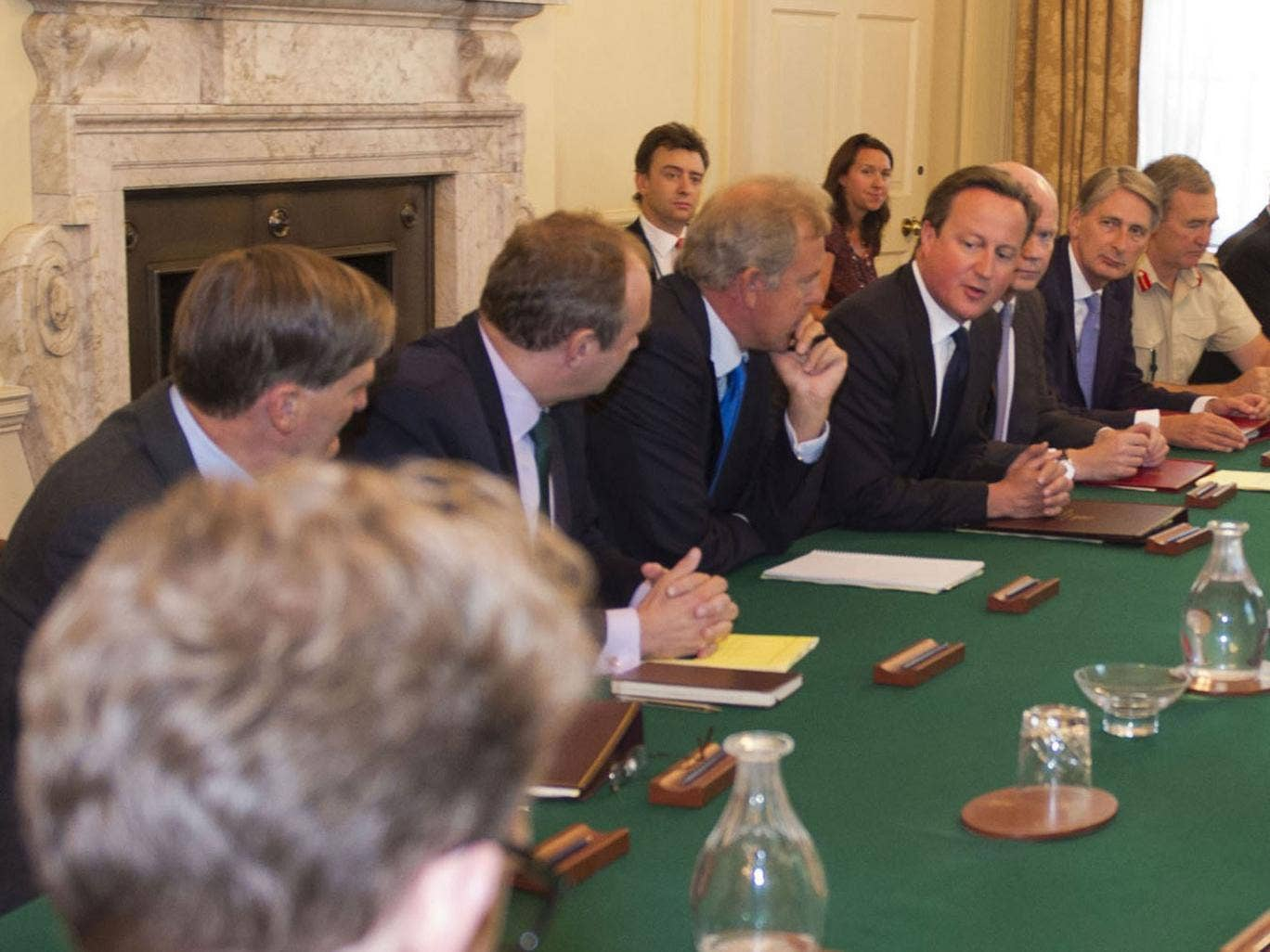 David Cameron chairs a meeting of the National Security Council at 10 Downing Street in central London to discuss a response to the situation in Syria